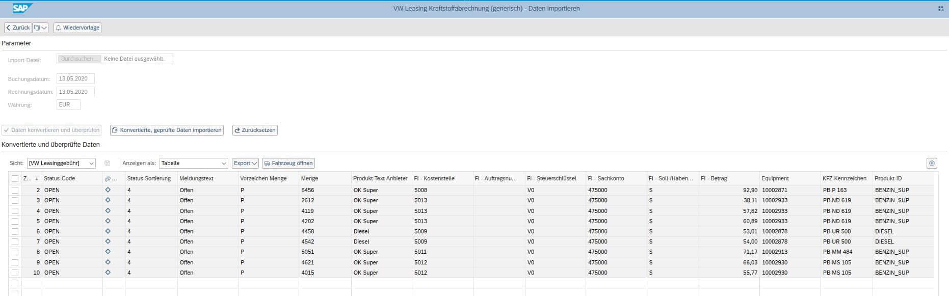 Datenübernahme / Importschnittstelle Flottenmanagement