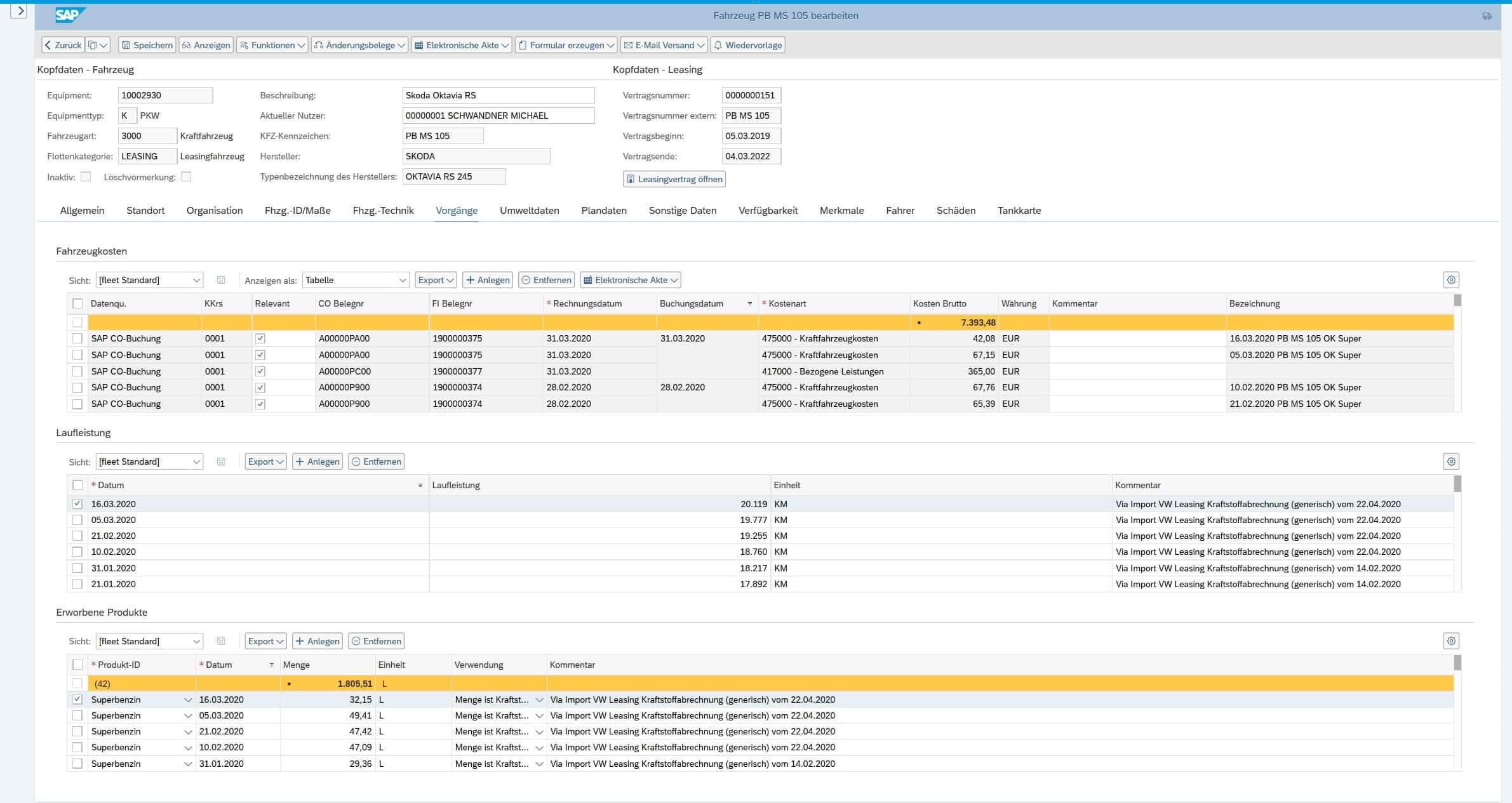 Fahrzeugverwaltung / Fahrzeugadministration für SAP